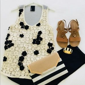 Tops - Heavy cream lace with black flower embellishments